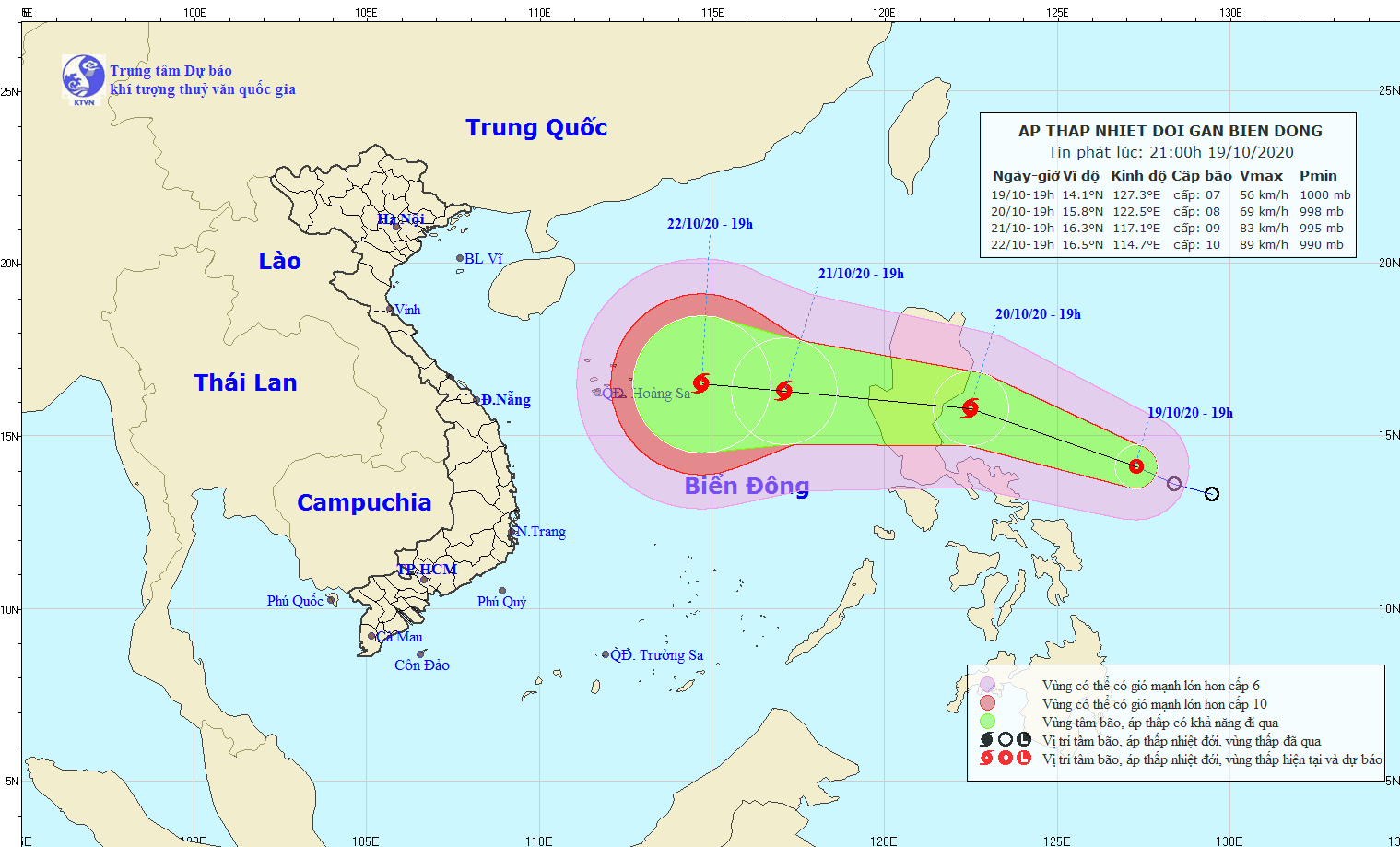 Áp thấp nhiệt đới cách bờ biển miền Trung Philippin khoảng 330km